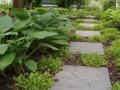 Tuinontwerp stapstenen in beplanting