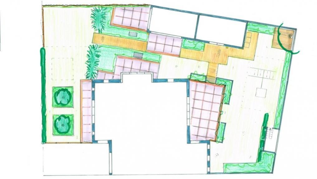 Tuinontwerp kindvriendelijke tuin onderhoudsarme tuin for Tuinontwerp schuine lijnen