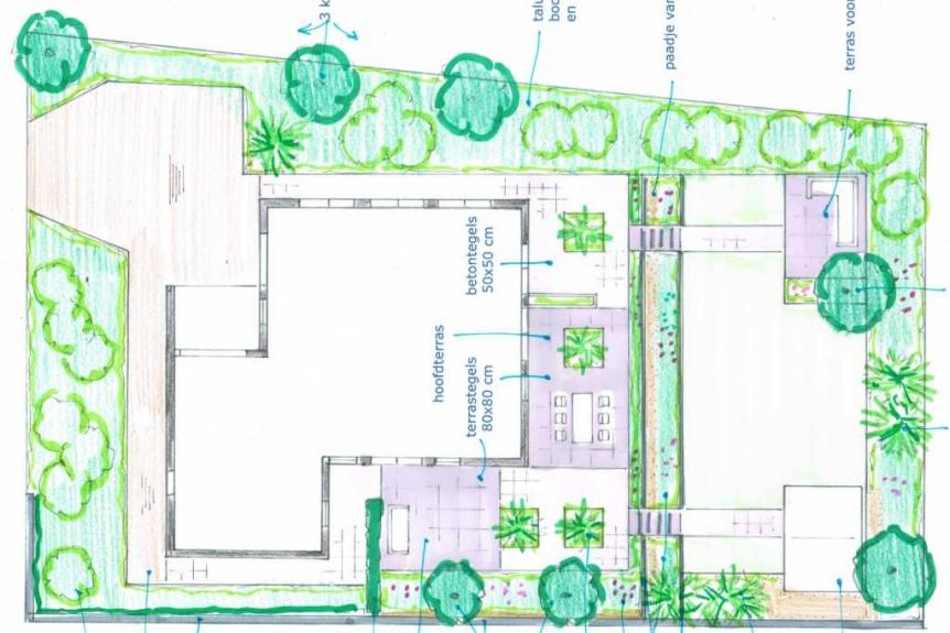 Extreem Tuinontwerp grote tuin: tuinontwerp voor aanleg in fases FB22