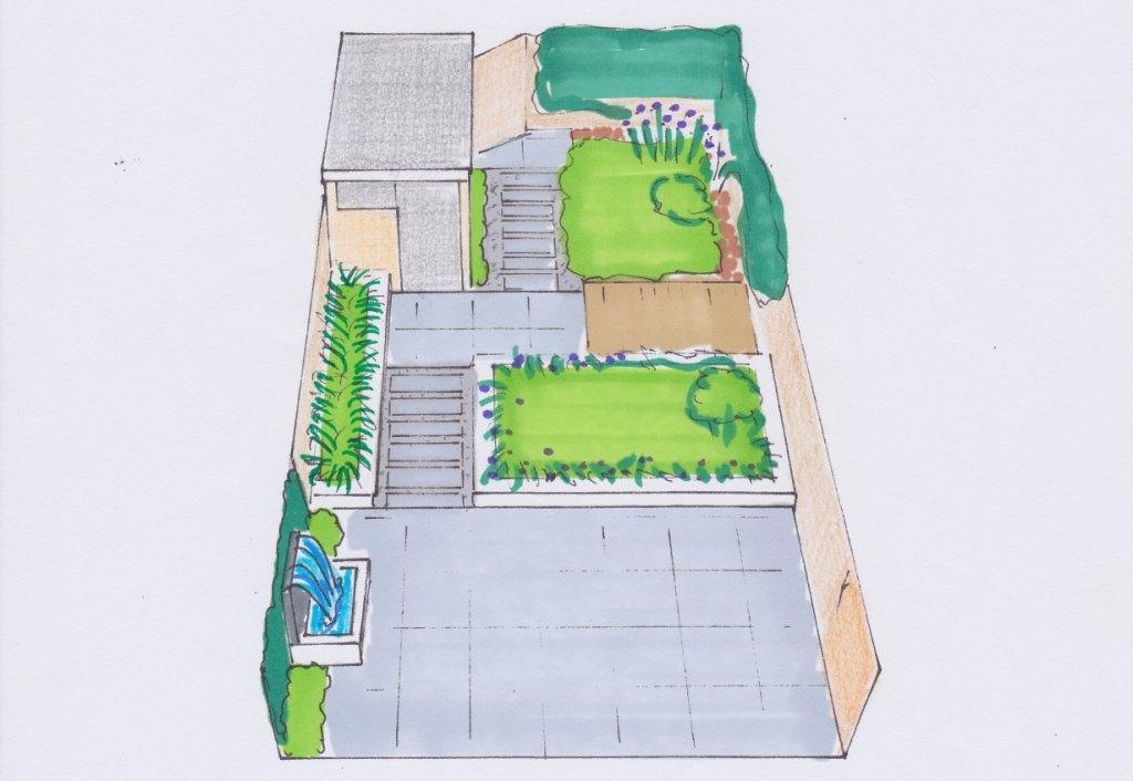 Strakke moderne tuin montfoort utrecht vicas tuinontwerpen - Kleine designtuin ...