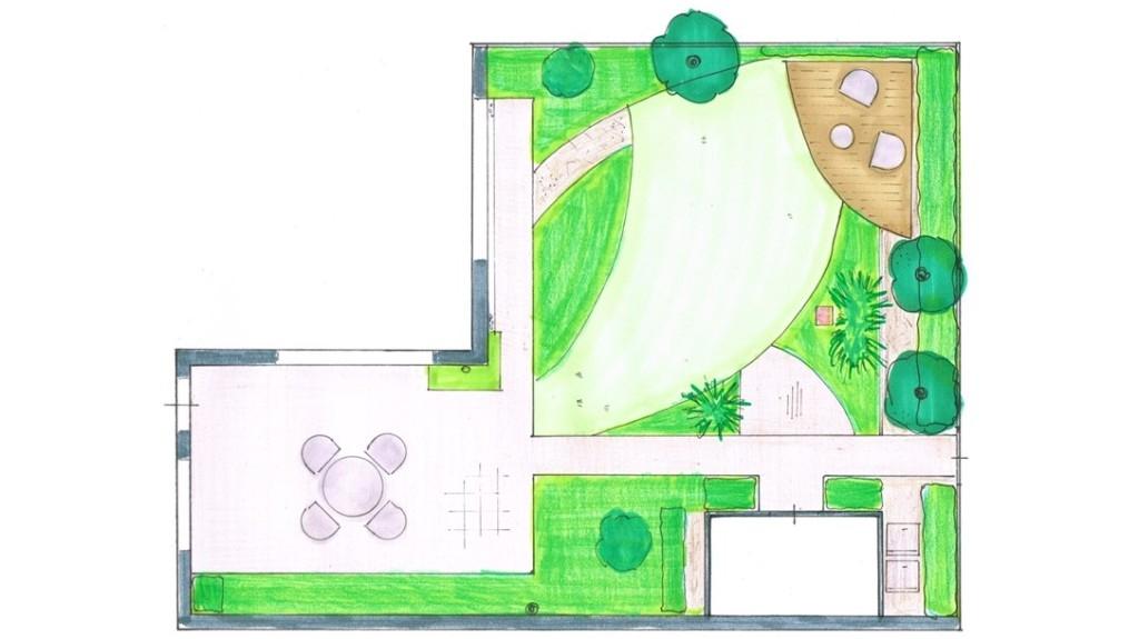 Woerden tuinontwerp gebogen lijnen vicas tuinontwerpen for Plattegrond tuin maken