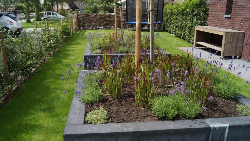 tuinontwerp voortuin met verhoogde borders