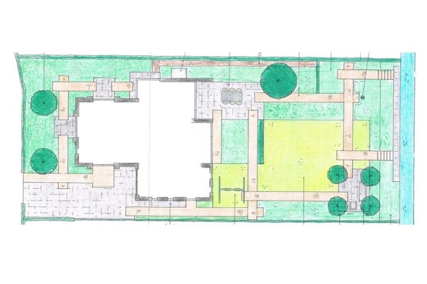plattegrond gezinstuin bij vrijstaande woning