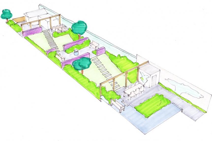 tuinontwerp grote tuin met tuinkamers