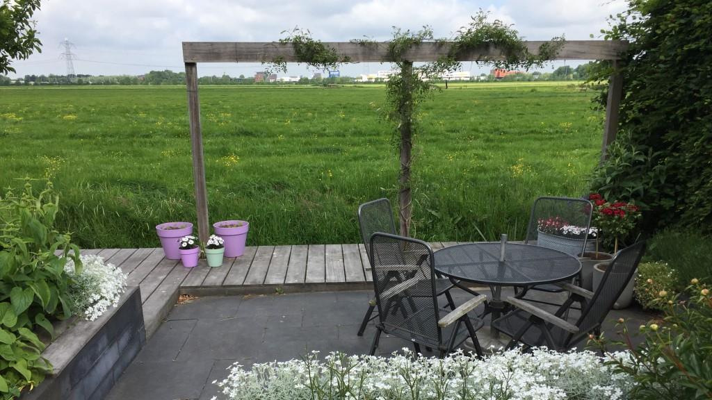 Tuinontwerp tuin aan het water met pergola en steiger - tuinarchitect Montfoort Woerden Utrecht